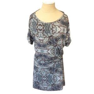 Nicole Miller Snake Print Blouson Dress EUC